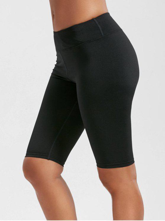 ارتفاع الخصر الركبة طول طماق مع جيوب - أسود XL