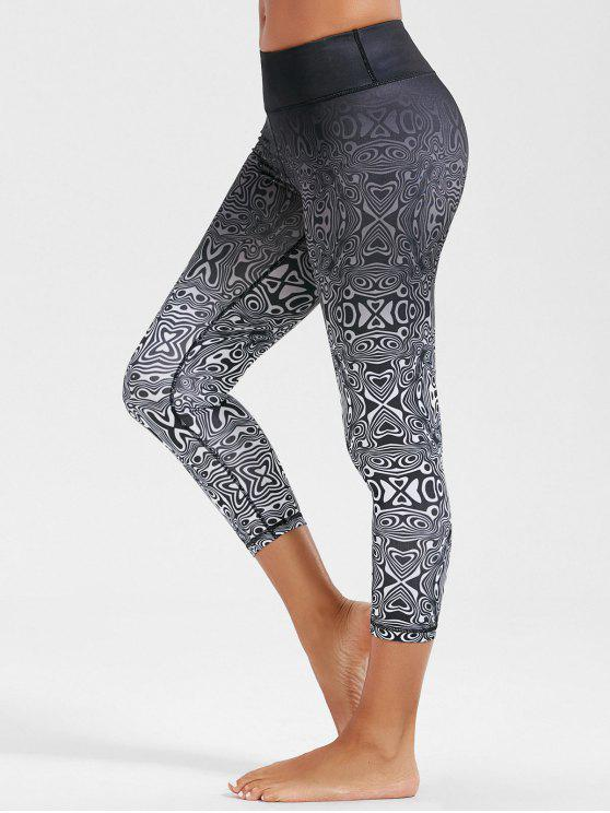 be06f764d3445 23% OFF] 2019 High Rise Ombre Funky Gym Leggings In WHITE AND BLACK ...