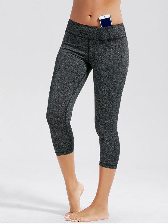 عالية الارتفاع كابري اللياقة البدنية طماق مع جيوب - الرمادي العميق S