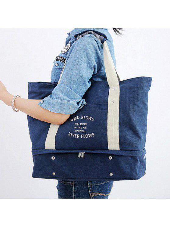 حقيبة توتي للتخزين بطبعة كتابة - أزرق