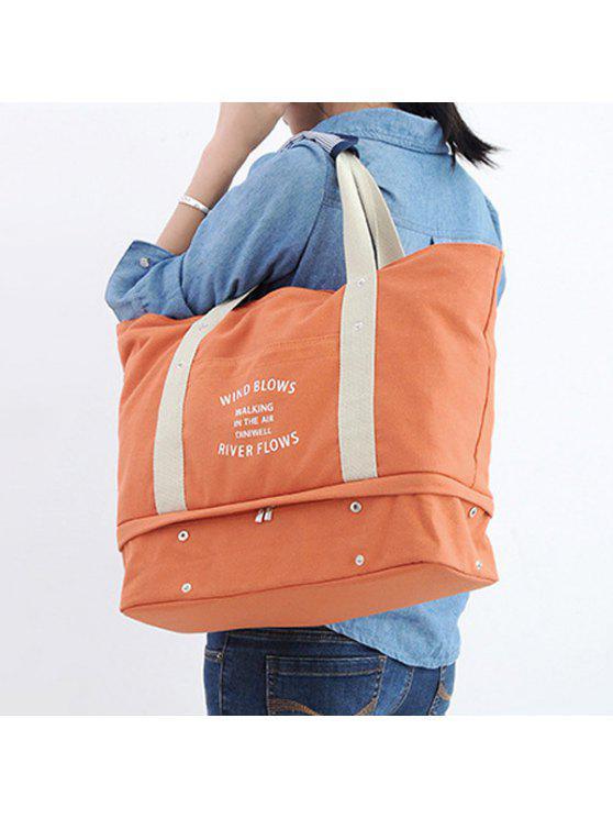 حقيبة توتي للتخزين بطبعة كتابة - البرتقالي