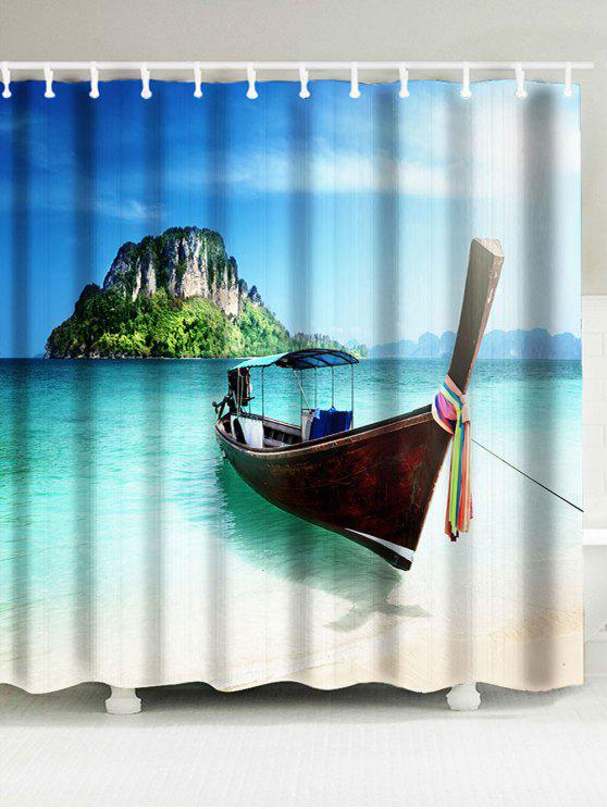 Boat Island Scenic Fabric Shower Curtain BLUE: Curtains W71 INCH ...