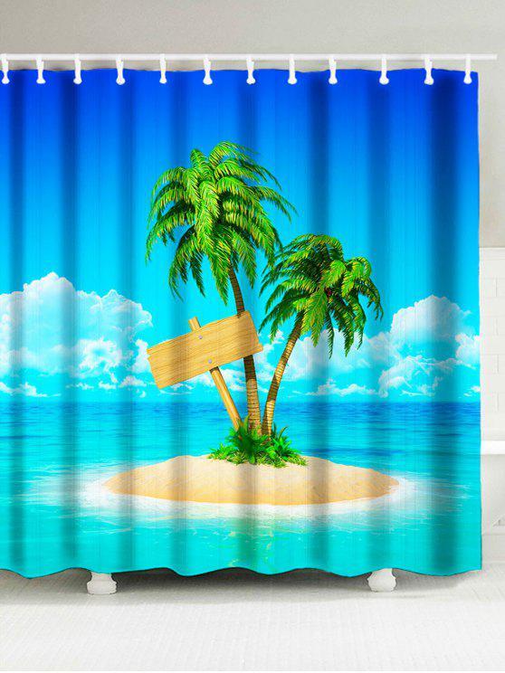 Coconut Palm On Island Beach Theme Shower Curtain