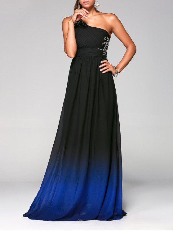 فستان رسمي بكتف واحد طويل بلون أومبير - ازرق غامق M