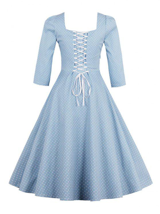 40% OFF  2019 Vintage Square Neck Polka Dot Dress In LIGHT BLUE XL ... 5cd45eb95
