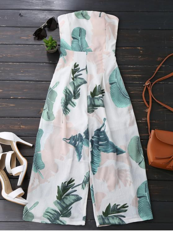 fancy Leaves Print Strapless Jumpsuit - WHITE S