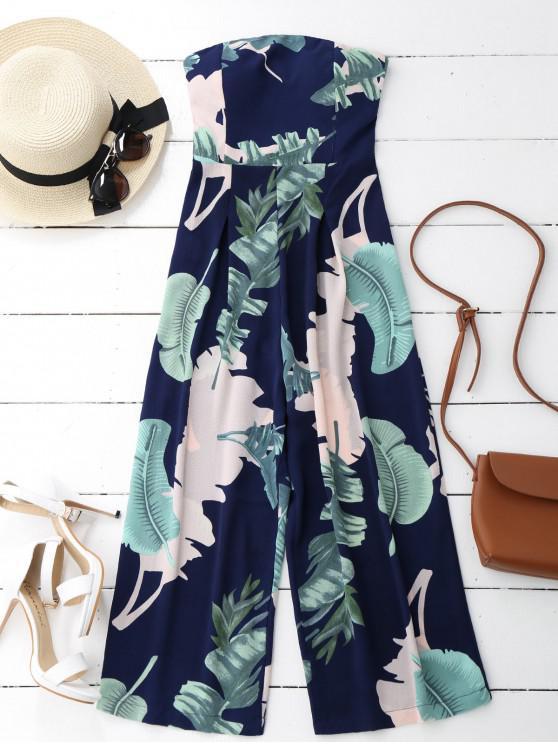 womens Leaves Print Strapless Jumpsuit - PURPLISH BLUE S