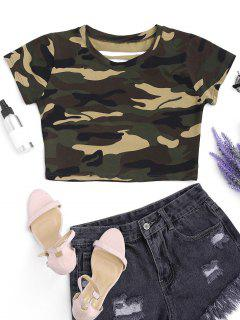 Cut Out Camouflage Cropped Top - Camouflage S
