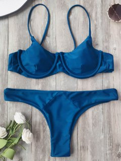 Adjustable Straps Balconette Underwire Bikini Set - Cadetblue M