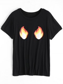 Cotton Fire Graphic T-Shirt - Black S