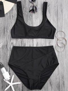 Sheer Mesh Insert High Waisted Bikini Set - Black S