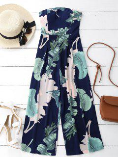 Leaves Print Strapless Jumpsuit - Purplish Blue L