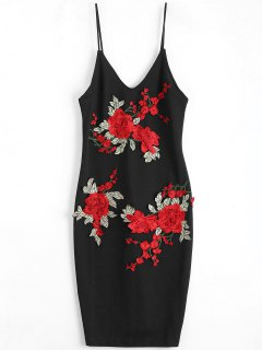 Rose Embroidered Patched Slip Bodycon Dress - Black S