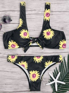 Sunflower Knotted Bikini Top And Bottoms - Black S