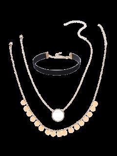 Disc Circle Velvet Choker Necklace Set - Golden