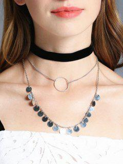 Disc Circle Velvet Choker Necklace Set - Silver