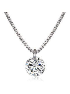 Collar Con Colgante De Diamantes Falsos - Blanco