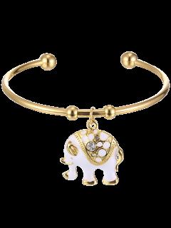 Retro Plated Rhinestone Elephant Pendant Cuff Bracelelt - White