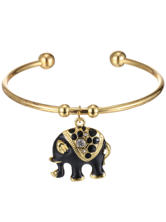 Retro Plated Rhinestone Elephant Pendant Cuff Bracelelt - Black
