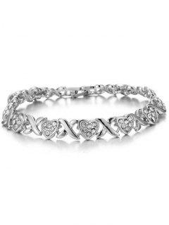 Alloy Crossing Heart Rhinestone Inlay Bracelet - Silver