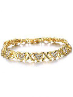 Alloy Crossing Heart Rhinestone Inlay Bracelet - Golden