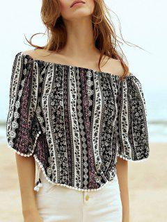 Printed Off The Shoulder Half Sleeve Blouse - Black L