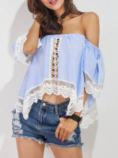 Off Shoulder Lace Panel Asymmetric Top - Azure L