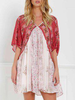 Robe Imprimée Vintage à Manches Courtes - Rouge Et Blanc S