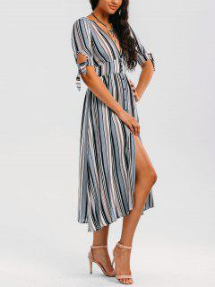 Stripes Bowknot Button Up Midi Dress - Stripe S