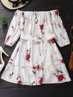 Floral Print Cut Out Belted Dress - White L