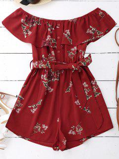 Floral Print Flounce Belted Romper - Red M