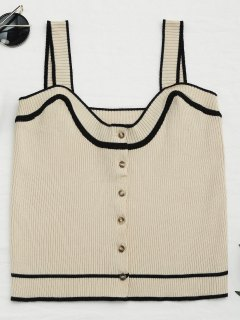 Color Block Knitted Button Up Tank Top - Apricot