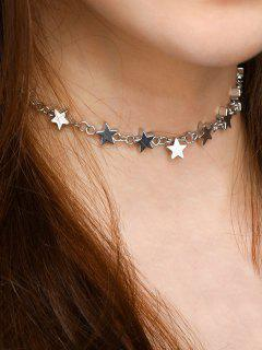 Star Copper Alloy Collarbone Necklace - Silver