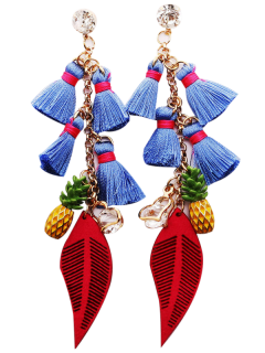 Rhinestone Pineapple Tassel Heart Chain Earrings - Blue