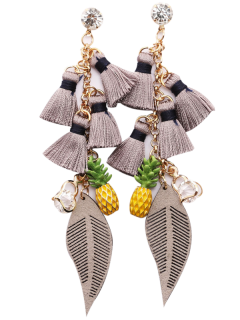 Rhinestone Pineapple Tassel Heart Chain Earrings - Gray