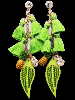 Rhinestone Pineapple Tassel Heart Chain Earrings - Green