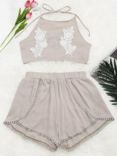 Crop Top Halter Floral En Dentelle Et Short - Carnation S