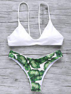Bikini à Bretelle Spaghettis Imprimé Palmier - Blanc M
