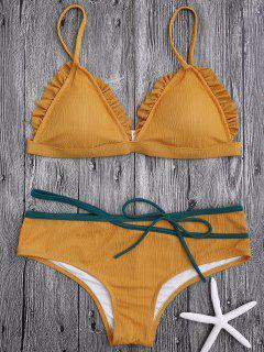 Spaghetti Strap Ruffle Trim Bikini Set - Ginger L