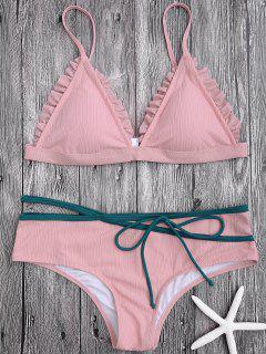 Spaghetti Strap Ruffle Trim Bikini Set - Pink L