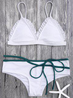 Spaghetti Strap Ruffle Trim Bikini Set - White S