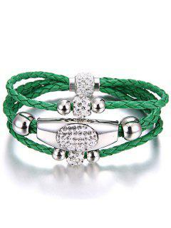 Magnet Buckle Layered Rhinestone Beaded Bracelet - Green