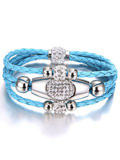 Magnet Buckle Layered Rhinestone Beaded Bracelet - Azure