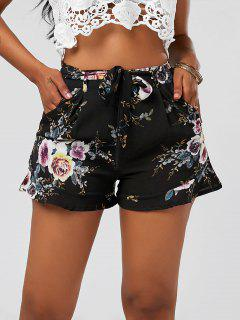 High Waisted Ruffle Trim Floral Shorts - Black M