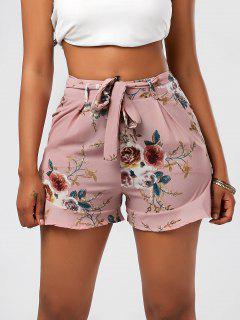 Pantalones Cortos Con Cuello Alto Y Volantes - Rosa S