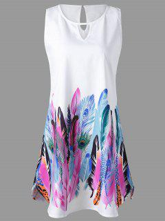 Keyhole Neck Feather Print Sleeveless Dress - White L