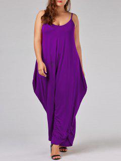 Plus Size Low Cut Spaghetti Strap Baggy Jumpsuit - Purple 6xl