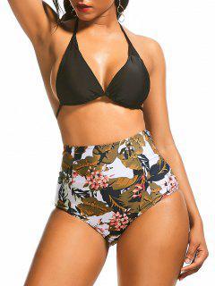 High Waist Floral Leaf Print Bikini Suit - M
