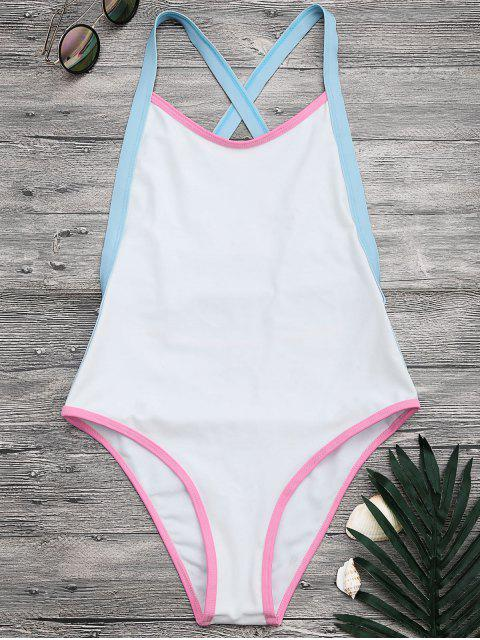 lady Tricolor High Cut One Piece Swimsuit - WHITE S Mobile