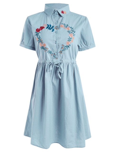 fancy Floral Embroidered Drawstring Flare Dress - BLUE GRAY ONE SIZE Mobile
